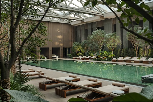 The rooftop swimming pool at Rosewood Beijing
