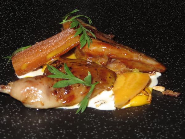 Deanes quail with sweet baby carrots