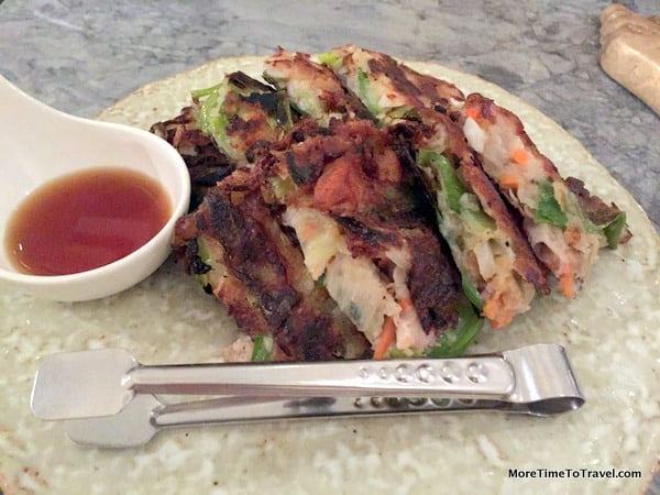 Seafood scallion pancakes
