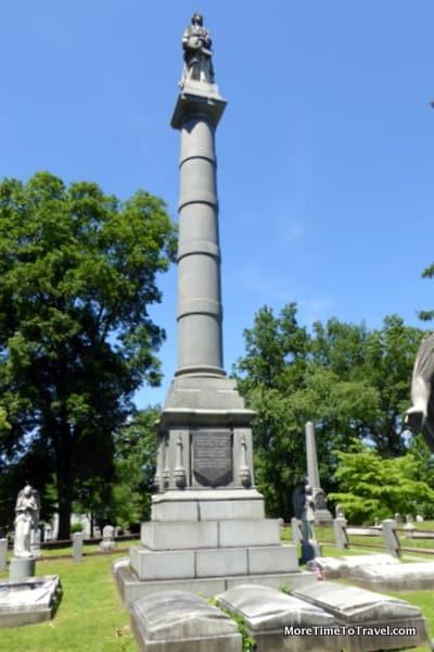 Column at the Delavan family gravesite