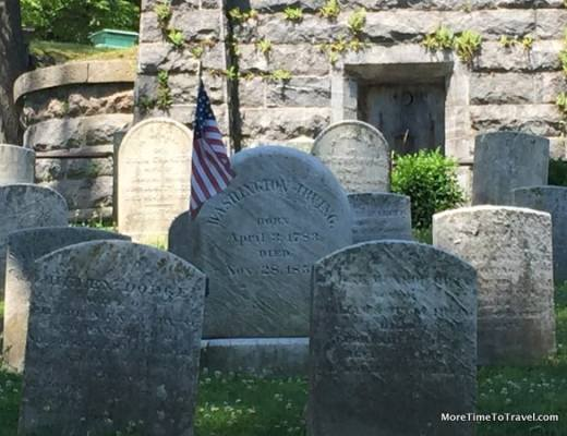 Simple grave of Washington Irving, author of The Legend of Sleepy Hollow and Rip Van Winkle, known as the first American to earn a living from his pen at Sleepy Hollow Cemetery