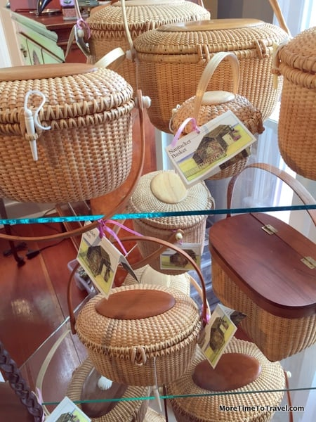 Different shapes of lightship baskets and purses crafted by lightship keepers that have now become collectibles.