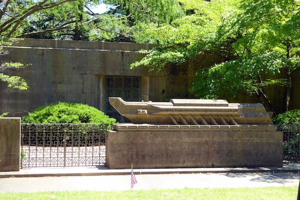Straus Mausoleum at The Woodlawn Cemetery, the gravesite of Isidor Straus (co-owner of Macy's Department Store). He and his wife Ida both died aboard the Titanic and are memorialized on the nearby monument depicting a lifeboat from the ship. (Photo credit: Jerome Levine)