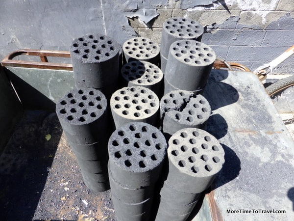 Coal firebricks outside a hutong, used for heating