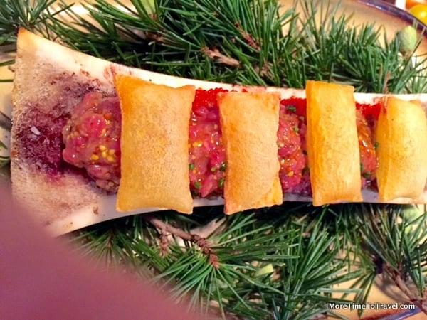 Steak tartare with bone marrow
