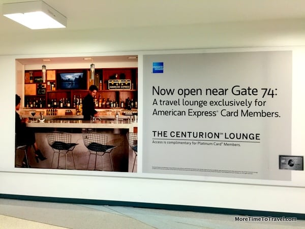 Airport sign announcing the new Centurion Lounge at SFO