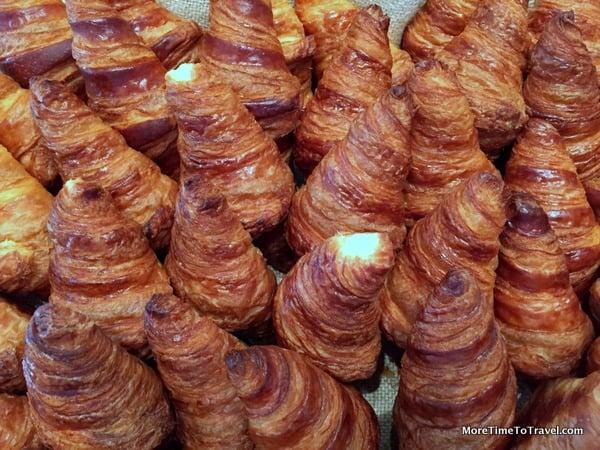 Flaky freshly-baked croissants