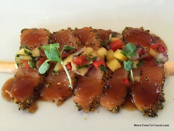 Marinated salmon with lemon pepper and mango salsa; appetizer in the Chef's Kitchen on the AmaWaterways Sonata