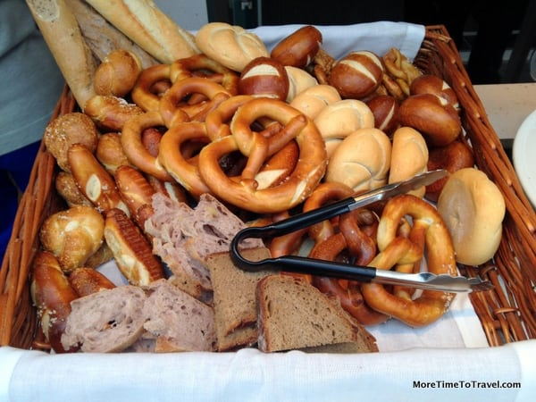 German pretzels and breads on the Viking Freya on the Danube River