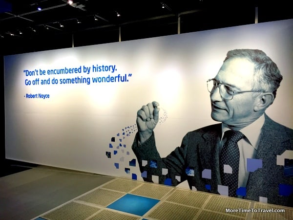 An inspirational larger-than-life graphic at the Intel Museum