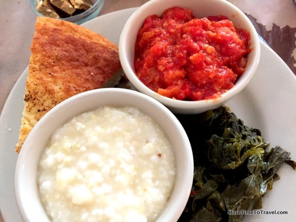 Vegetable plate with collard greens, tomato pudding and grits