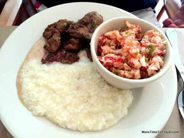 Sauteed chicken livers with grits and cole slaw side