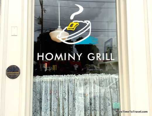 One of the windows at Hominy Grill