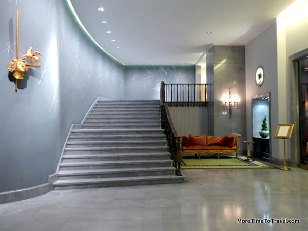 A gracious staircase in the lobby