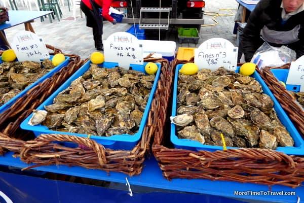 Freshly-shucked oysters