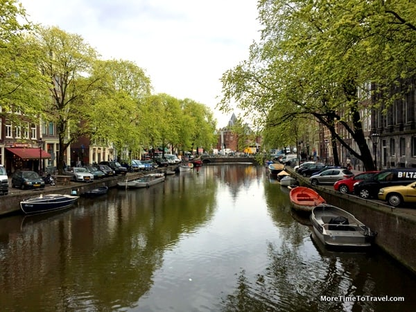 A peaceful canal in Amsterdam AFTER King's Day