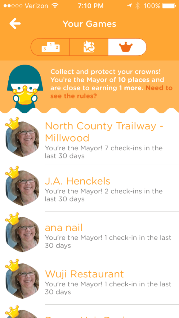 Some of my 10 mayorships