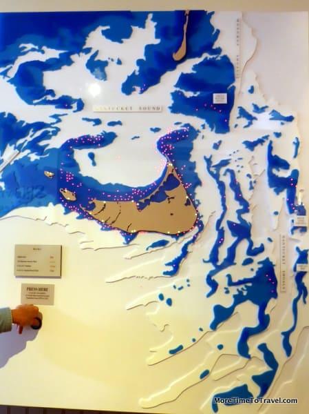 Map of shoals and shipwrecks in Nantucket; red lights show shipwrecks