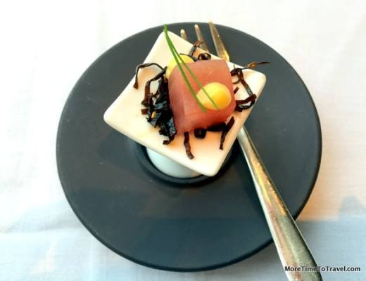 Tuna sashimi amuse bouche at Asiate