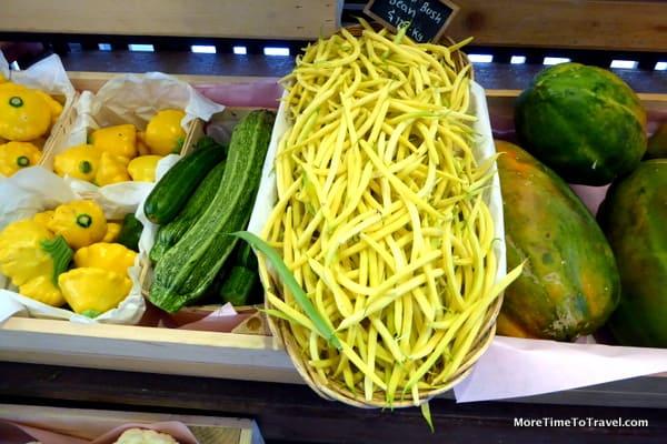 Beans and zucchini at Flora Farm