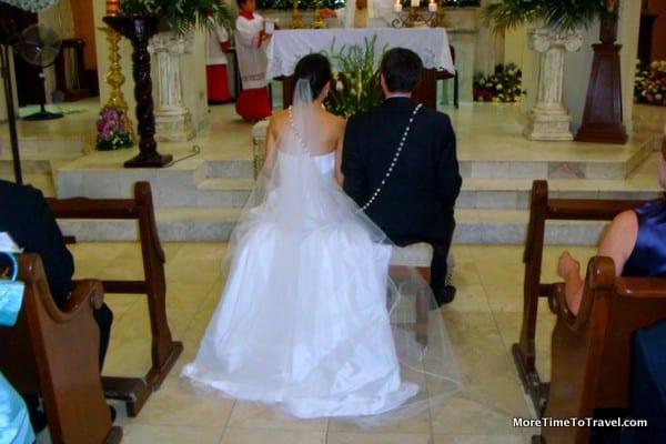 Bride and Groom at the altar in Ciudad Obregon, Mexico
