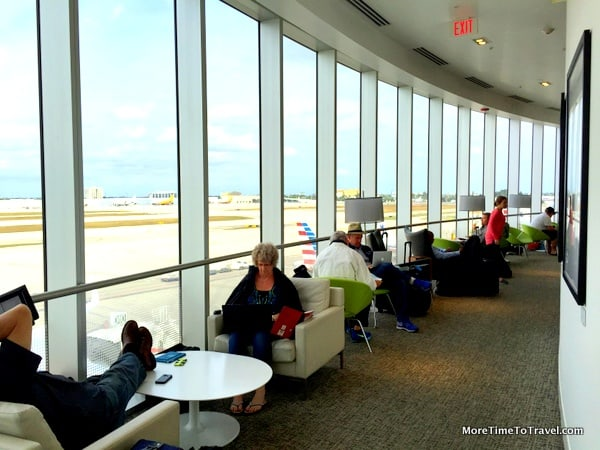 Windowed exterior wall of the Centurion Lounge at MIA
