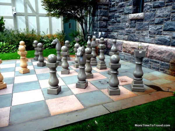 Life-size chess board in the garden