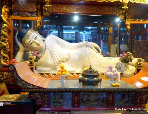Reclining Buddha at Jade Buddha temple in Shanghai