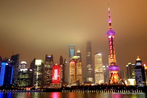 View of the Shanghai skyline at night from the Crystal Symphony