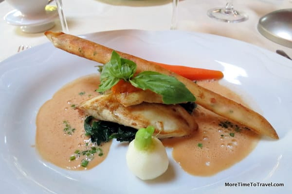 Striped bass with a lobster roll and lobster sauce