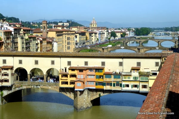 View of the Ponte Vecchio from a window in the Uffizi
