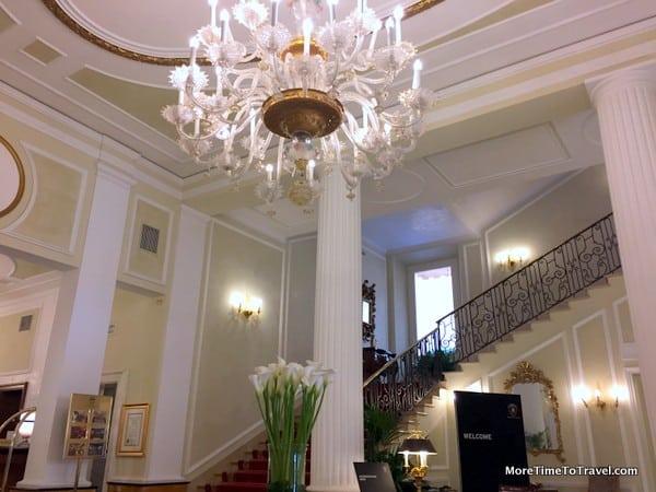 View of the elegant hotel lobby