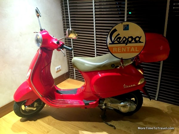 The Vespa in the lobby of La Tabaccia