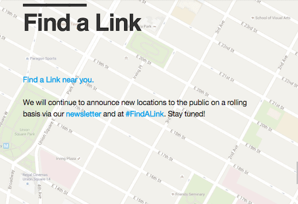 Find a Link on the LinkNYC website
