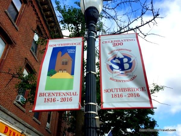 Flags advertising the Southbridge bicentennial
