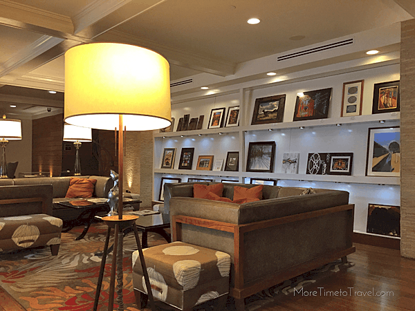A wall of local artists' work in the lobby.