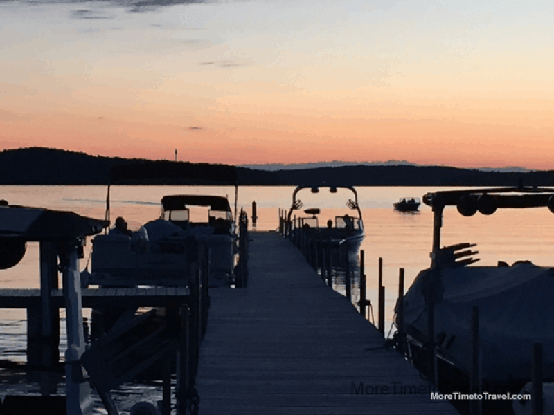 Lake Walloon: The sun set behind the boats watching the movie.