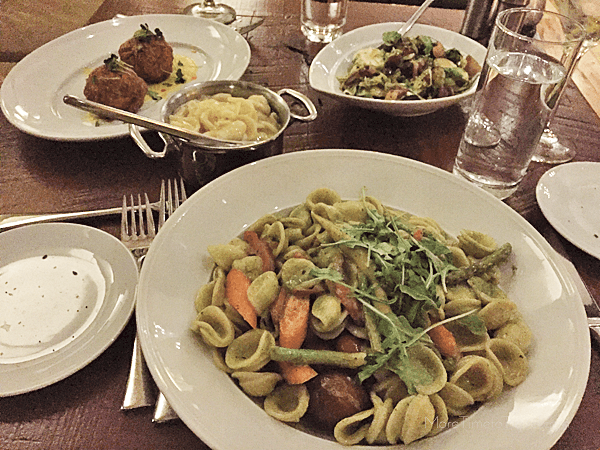 Our orecchiette with roasted vegetables, and other delicious small plates.