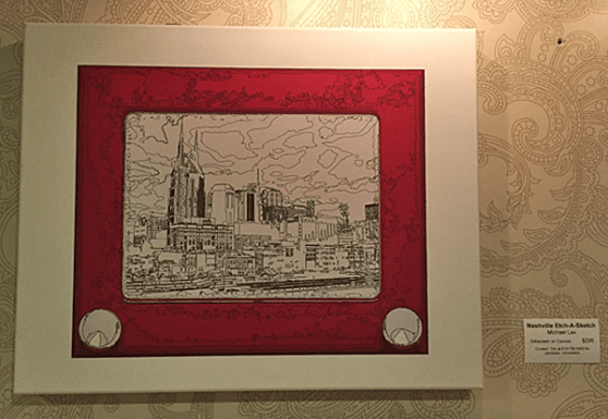 Local art on the second floor: Nashville etch-a-sketch.