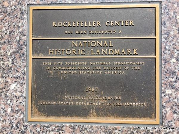Plaque designating Rockefeller Center as a National Historic Landmark