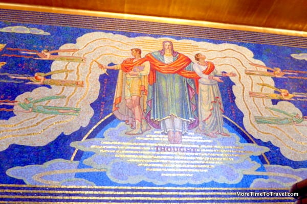 Thought, the centerpiece of Barry Faulkner's 1933 mosaic, Intelligence Awakening Mankind, 1250 Avenue of the Americas