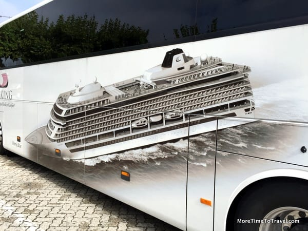 One of the sleek buses, this one with a logo of the Viking Star