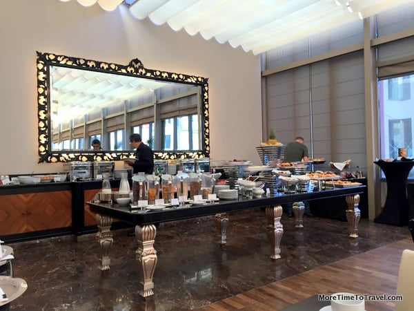 Buffet table in the breakfast room at Intercontinental Porto