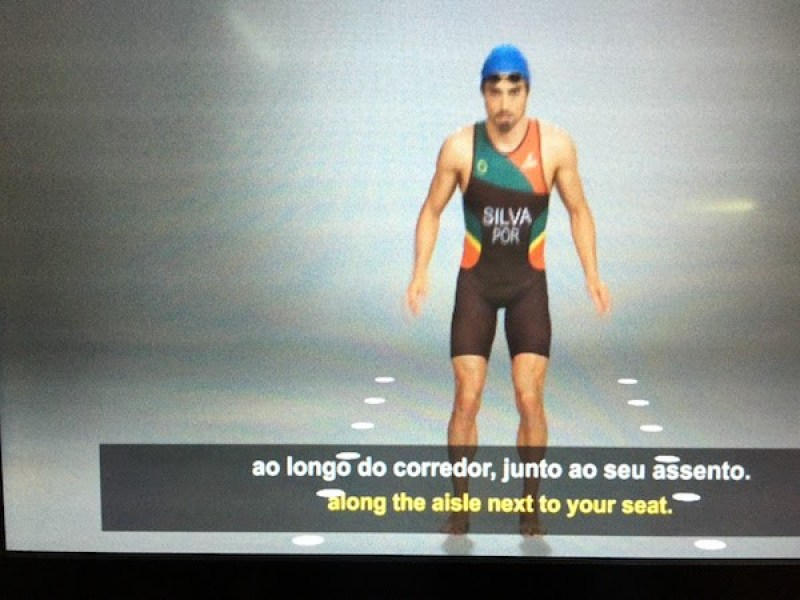 Olympic-themed safety instructional video on TAP Portugal