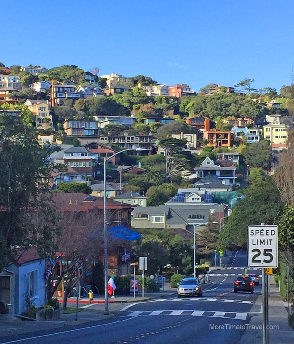 The view walking down the hill into Sausalito