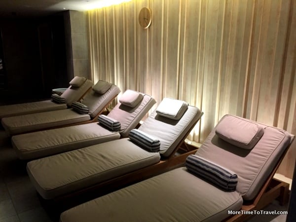 A peak inside the relaxing Nordic spa on the Viking Star