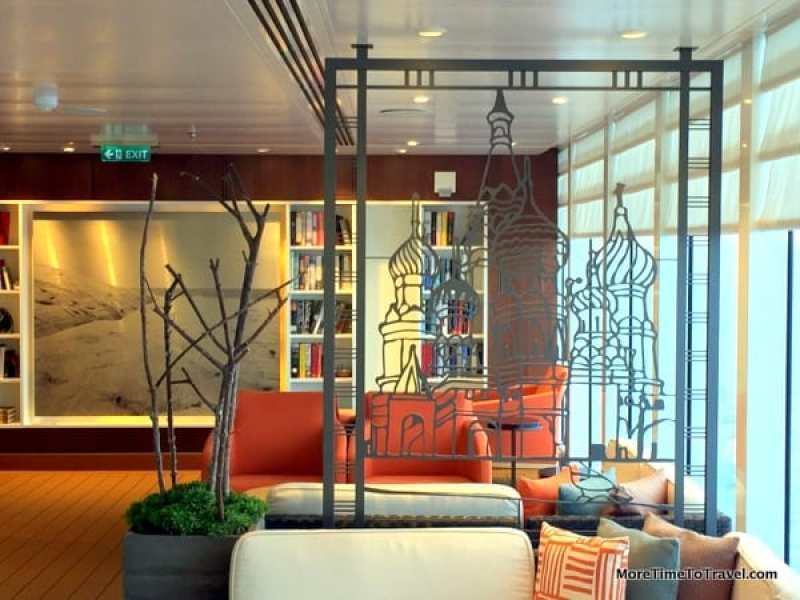 A reading nook for the over-50 traveler: Metal sculpture divider creates a nook on the Viking Star