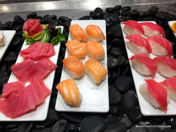 Very fresh sushi and sashimi at the World Cafe on the Viking Star