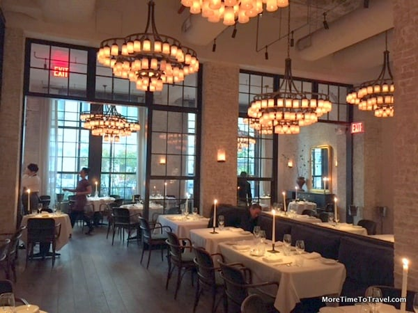 The spacious dining room at Le Coucou