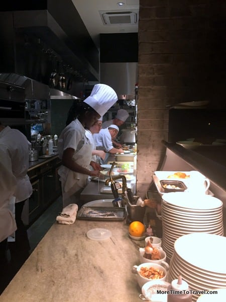 Chefs at work in the open kitchen